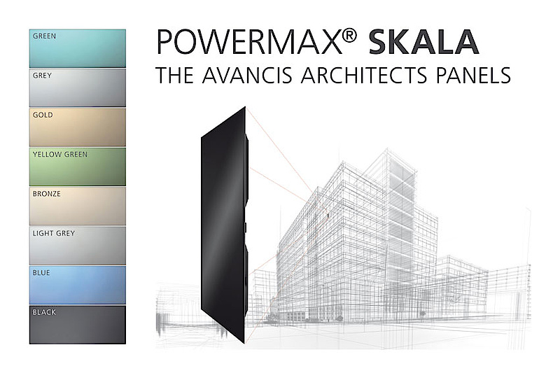 AVANCIS launches PV module SKALA for the building sector. CIS module for solar façades is scalable in size and color.